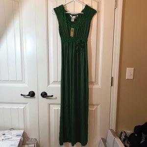 Max Studio New Green maxi dress floral trim